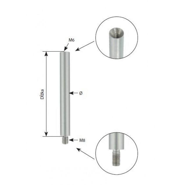 Kolík s vonkajším a vnútorným závitom Ø 14 mm, dĺžka 100 mm